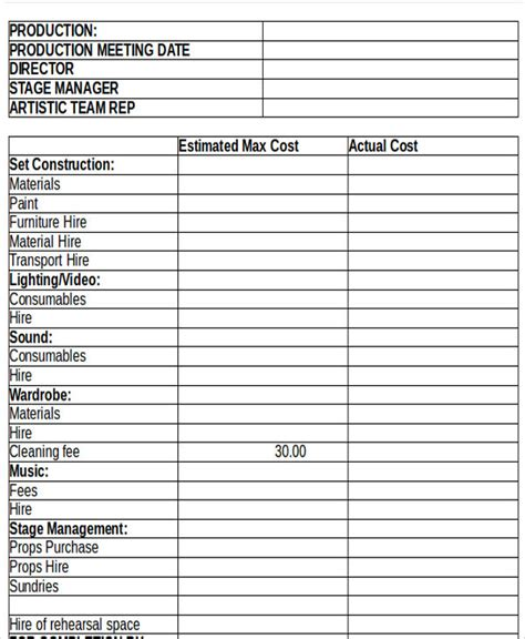 production budget template production budget templates free premium templates