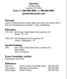 doing a resume for a highschool student high school student resume