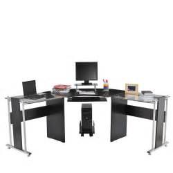 homcom 69 quot modern l shaped symmetrical glasstop office