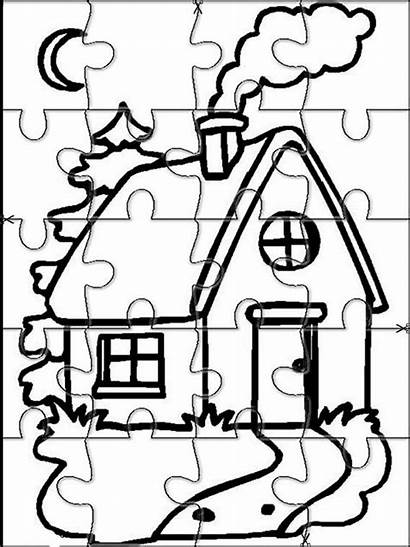 Puzzle Puzzles Coloring Pages Jigsaw Printable Cut