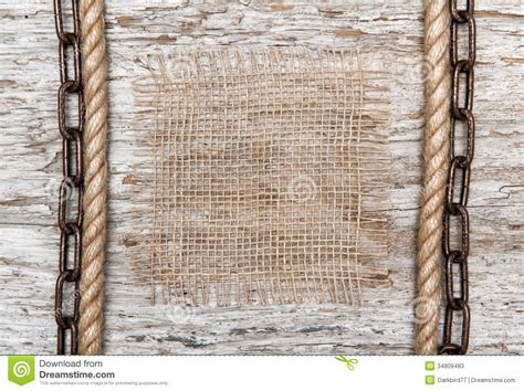 rustic background  burlap rope  chain stock image