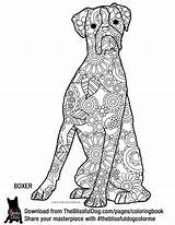 Coloring Dog Boxer Adult Zentangle Boxers Goldendoodle Theblissfuldog Dogs Template sketch template