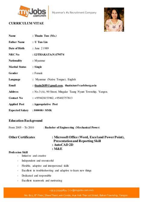 Lebenslauf Formular by Thazin Tun Cv Form 28 7 2016