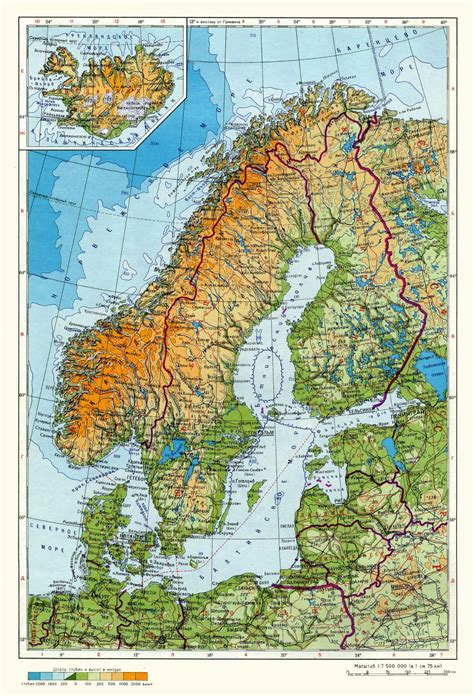 large physical map  scandinavia  russian sweden