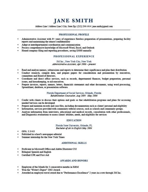 Exles Of Profiles On Resumes by Professional Profile Resume Templates Resume Genius
