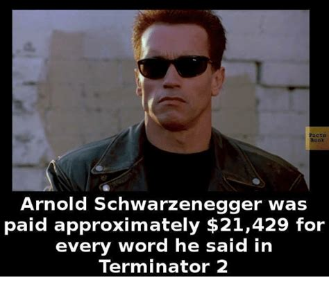 Schwarzenegger Meme - facts arnold schwarzenegger was paid approximately 21429 for every word he said in terminator 2