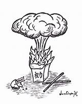 Plant Nuclear Drawing Explosion Nuke Power Mushroom Cloud Coloring Sketch Clipart Template Clipartmag sketch template