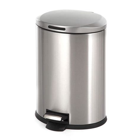 home zone stainless steel kitchen trash   oval