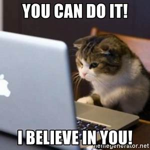 YOU CAN DO IT! I believe in you! - cat computer | Meme ...