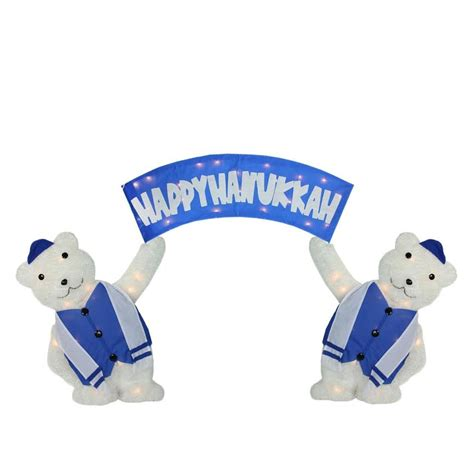 60 quot lighted polar bears with quot happy hanukkah quot sign this