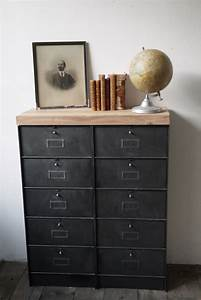 Meuble Industriel Vintage : ancien meuble console 10 casiers industriel a clapet roneo 1950 plateau chene massif ~ Teatrodelosmanantiales.com Idées de Décoration