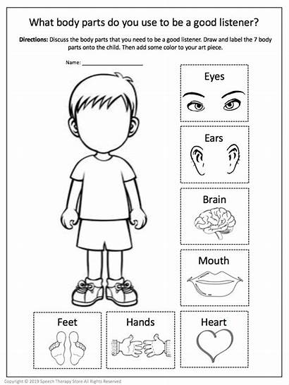 Listening Whole Worksheets Speech Therapy Parts Activity