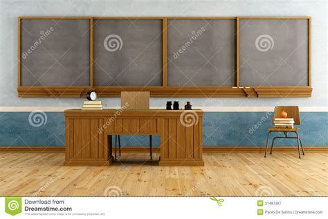 le bureau vintage salle de classe de vintage avec le bureau du professeur