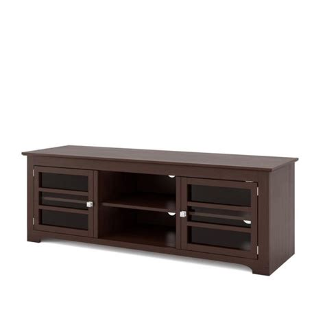 Tv Bank by Corliving West Lake Espresso Wood Veneer Tv Bench For
