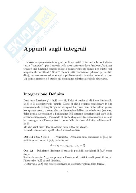 dispense analisi matematica integrali appunti di analisi matematica i