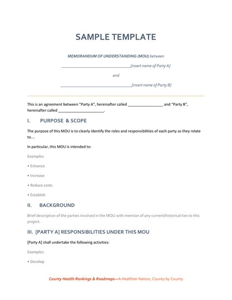 Mou Template Memorandum Of Understanding Sle Template In Word And