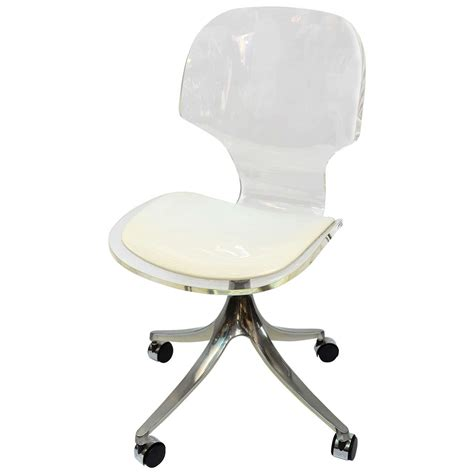 acrylic desk chair stunning 1960 s lucite desk chair on chrome swivel base at