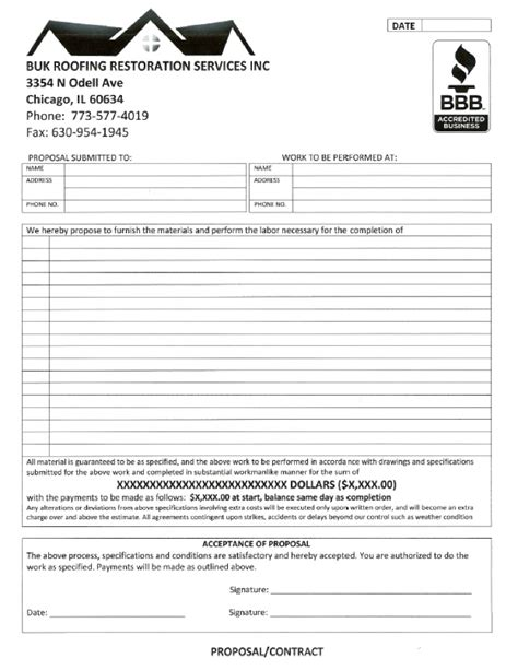 roofing contract  printable documents