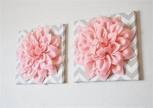 Two wall flowers light pink dahlia on taupe and white chevron