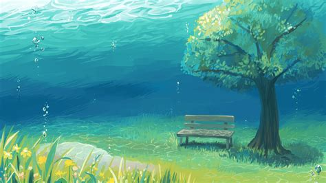 Tree Anime Wallpaper - 2560x1440 anime landscape underwater tree