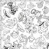 Fabric Coloring Pages Party Tea Adult Yard Printable Kitchen Loraliedesigns Doll Cotton Templates Painting sketch template