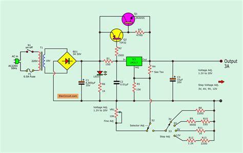 adjustable voltage regulator circuit  pcb eleccircuitcom