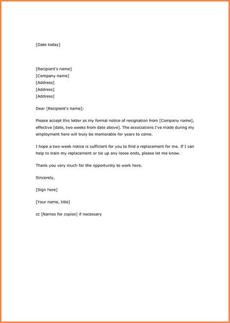 Resignation Letter Exles by 9 Exle Of Resignation Letter With 2 Week Notice