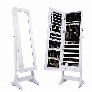 langria lockable mirrored jewelry cabinet armoire mirror With meuble bijoux