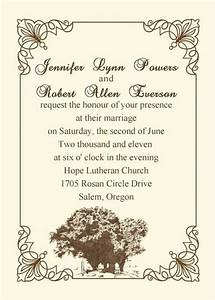 Older couple wedding invitation wording vintage tree for Sample wedding invitations for older couple