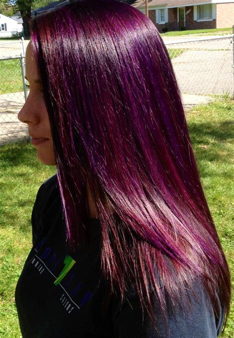 Purple Highlights W A Red Purple Base Hair Pinterest