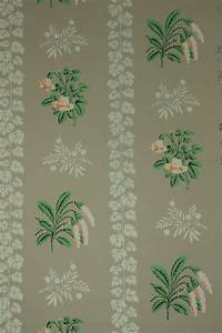 1950's Vintage Wallpaper peach floral on taupe background