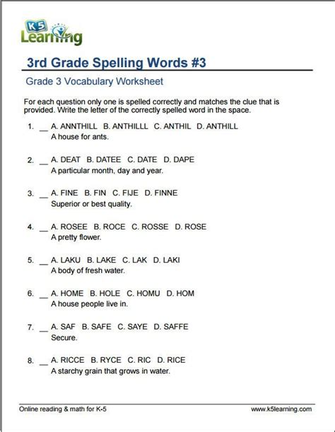 grade spelling words  images vocabulary