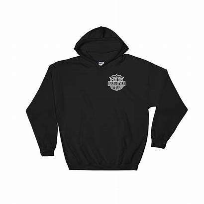 Slide Blk Hooded Bl Sweatshirt Badge Bar