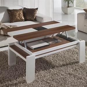 Table Basse Blanc Bois : table basse relevable blanc et bois mobilier ~ Teatrodelosmanantiales.com Idées de Décoration