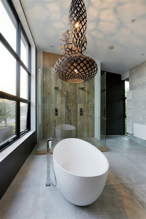 contemporary home  pool  black  white interior