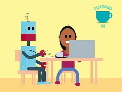 Robot Happy Plugged Giphy Animation Cartoon Animated