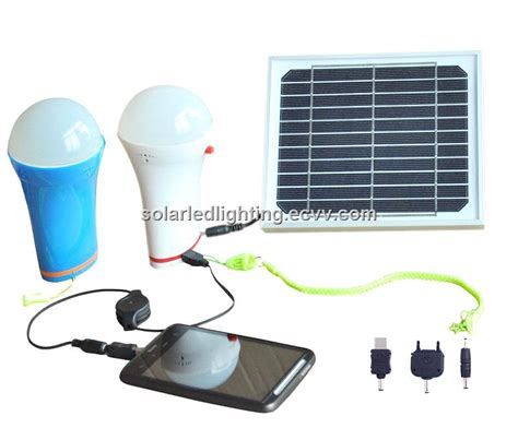 home use portable solar panel with led bulb mobile charger