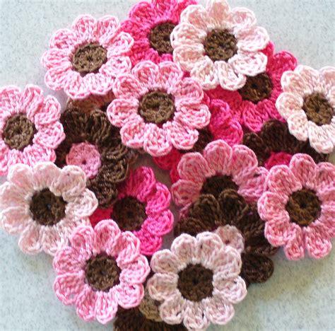 crochet flower handmade crochet flowers appliques embellishments pink brown set of 21 on luulla