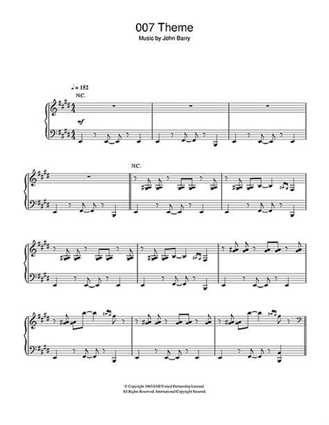 007 theme sheet music 007 theme sheet music by john barry piano 115903