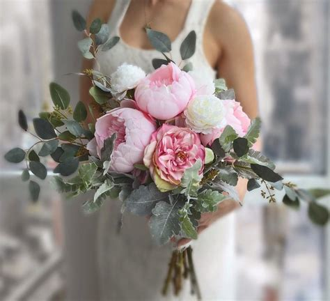 wedding bouquet pink peony bridal bouquet roses bouquet