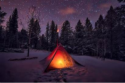 Night Winter Forest Sky Snow Trees Tents