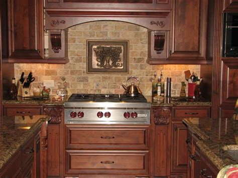 lowes medallion cabinets cream stone tile kitchen