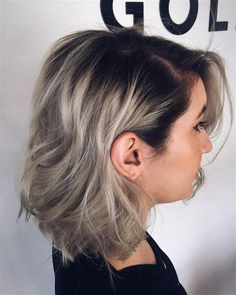 dark roots light ends technique dazzling silver ombre for 2017 new hair color ideas