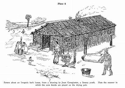 Iroquois Native Indian American Village Houses Drawing