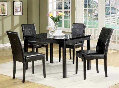 portland faux white marble dining table set  leather