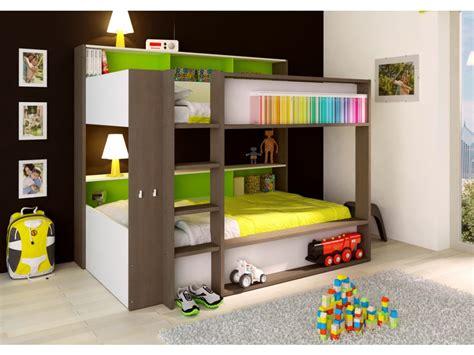 lit superposé canapé lits superposés dorian 2x90x190cm etagères fond vert