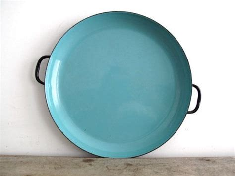 Vintage Blue Enamel Plate with Black Trim, Turquoise Metal