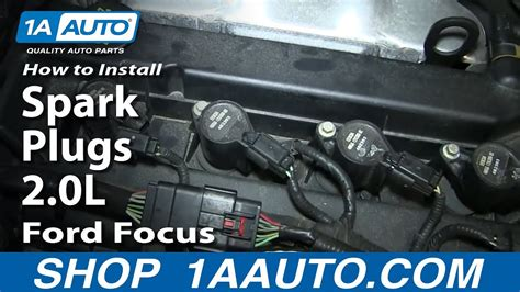 install replace spark plugs  ford focus youtube