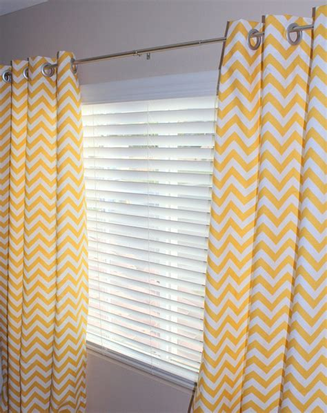 yellow and white chevron curtains pair of designer custom curtain panels 50 x 84 yellow