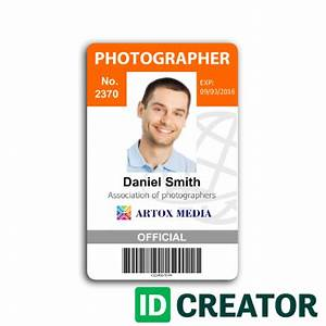 professional photographer id card from idcreatorcom With sample of id card template